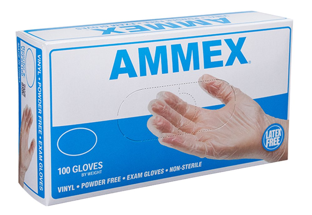 AMMEX - VPF64100 - Medical Vinyl Gloves - Disposable, Powder Free, Latex Rubber Free, Exam, 4 mil, Medium, Clear (Case of 1000)