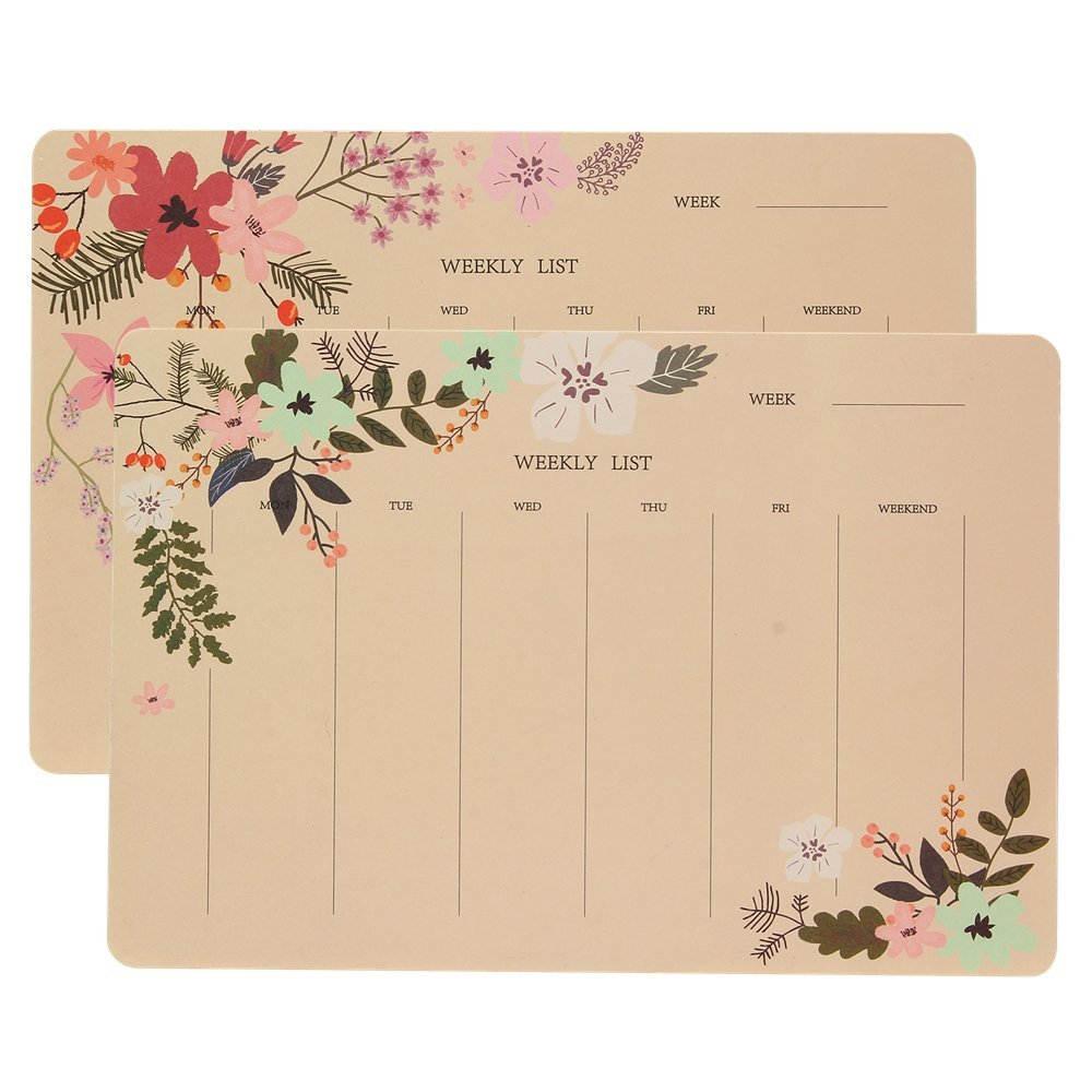 Shulaner Weekly Planner Pad Notebook with 50 Tear-Off Week Plan Sheets Make-A-List Calendar Pads for Home or Office, Pack of 2