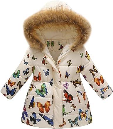 Baby Kids Girls Parka Fur Coats Warm Coat Jacket Leopard Print Hooded Overcoat