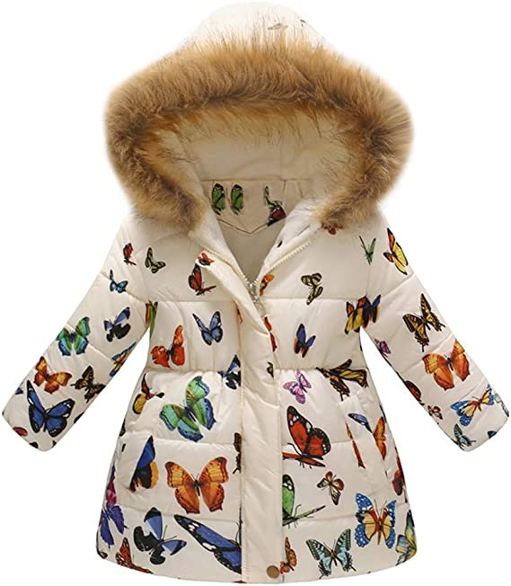 VEKDONE Coat Toddler Jacket Outwear Baby Girl Butterfly Pattern Winter Clothes