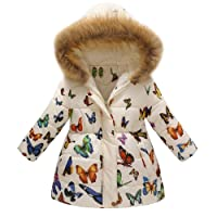 PRINCER Baby Clothes,Cute Butterfly Printed Winter Hooded Coat Casual Cotton Long Sleeve Parka Down Jacket Infant Warm Snowsuit Cloak Windproof Outerwear Overcoat for Kids Outfits (5-6Years, Beige)