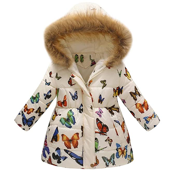 Amazon.com: Sumen Kids Winter Coats Little Girls Floral Thick Warm Jacket Fur Hooded Jacket Pink: Clothing