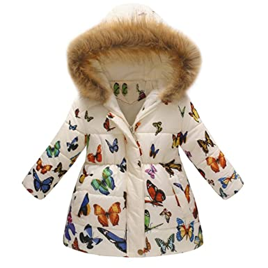 c3a866009 Amazon.com  Hatoys Baby Girl Boy Floral Butterfly Winter Warm Jacket ...
