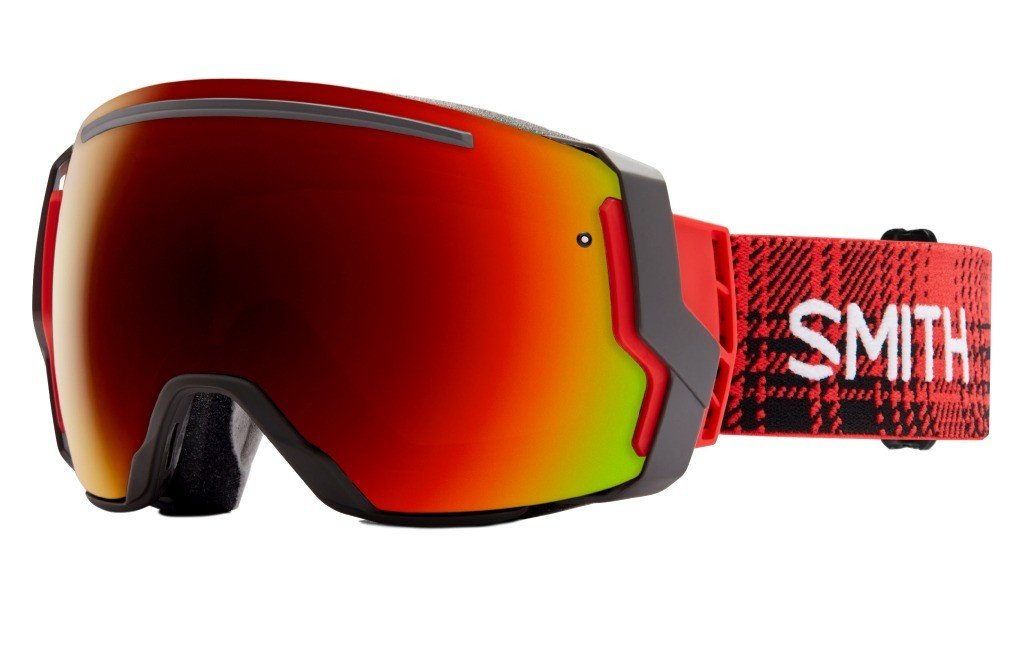 Smith Optics I/O 7 Adult Interchangable Series Snocross Snowmobile Goggles Eyewear - Woolrich Hunter / Red Sol X Mirror / Medium