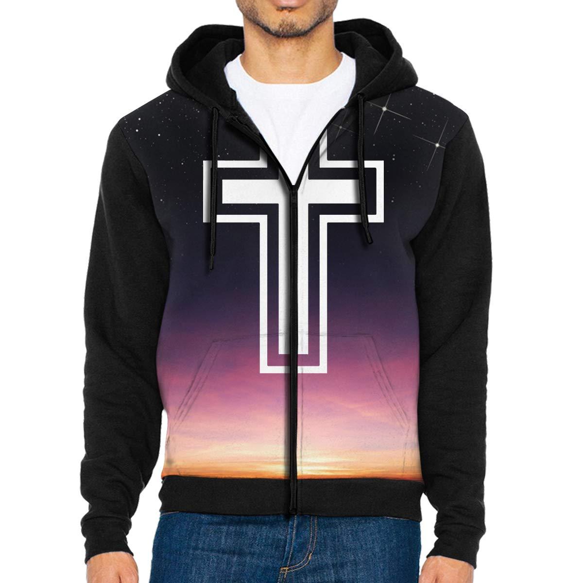 Cross Mens Full-Zip Up Hoodie Jacket Pullover Sweatshirt
