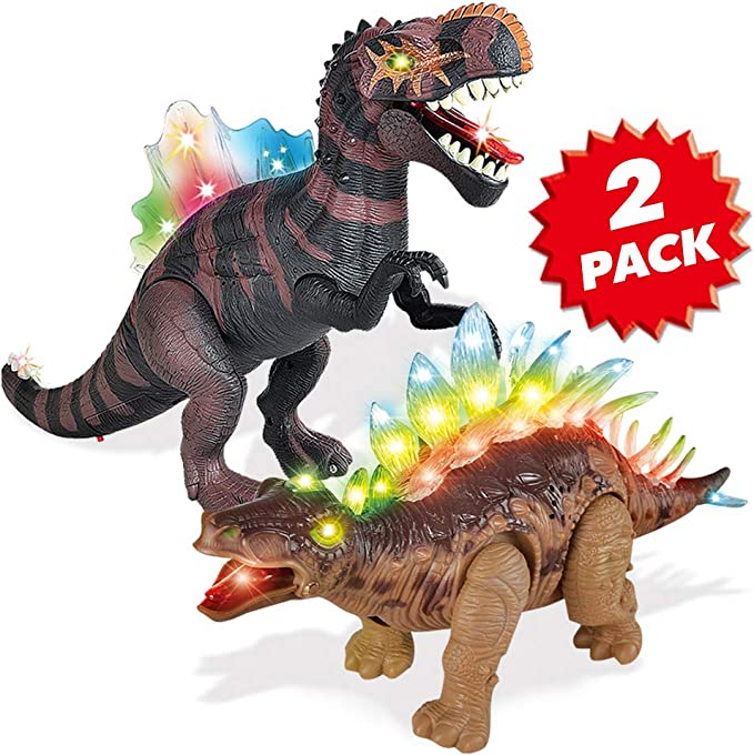 2 Pack Electronic Walking Dinosaur Toy with LED Light Up Eyes, Roaring Sound, Realistic Spinosaurus and Stegosaurus, Dinosaur Party Favors, Dinosaur Toy for Kids Boys Girls Ages 3 4 5 6 7 Year Old