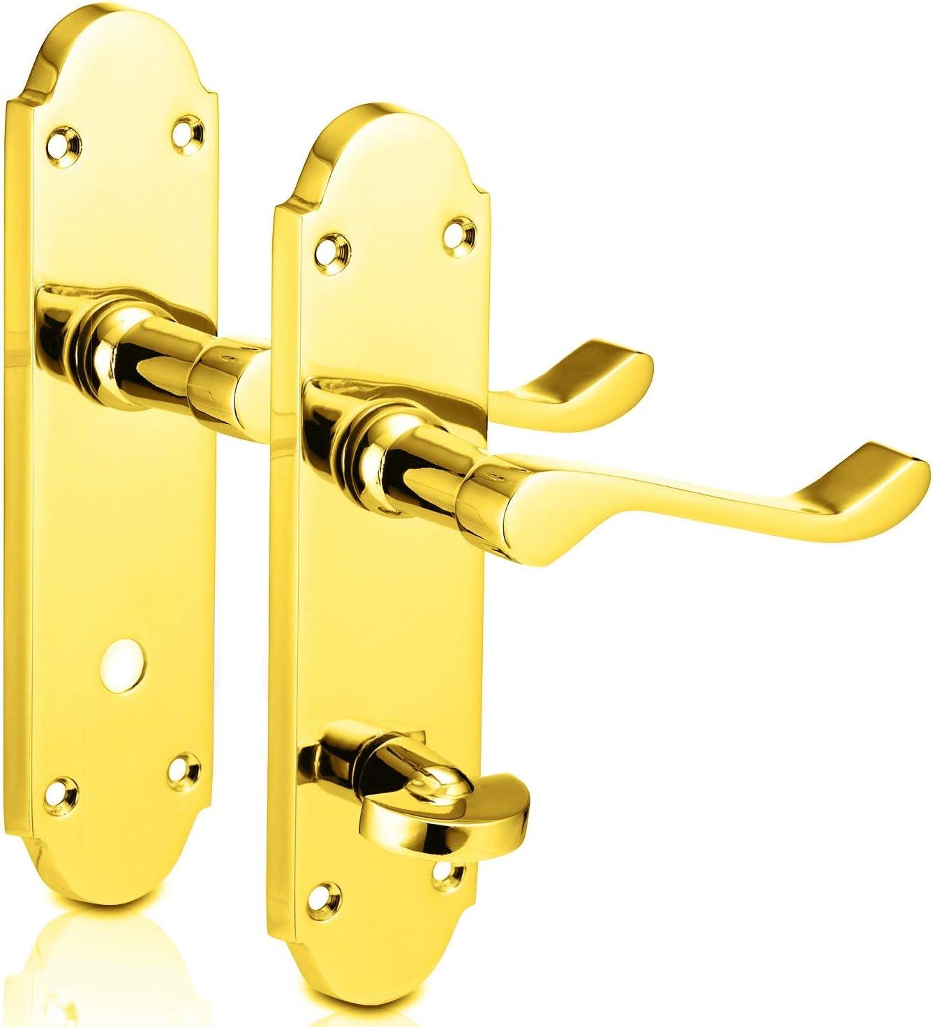 XFORT® - Manillas de puerta de baño de latón pulido con placa trasera de 8 pulgadas, manijas de puerta internas, manijas de puerta interiores, manijas de puerta interiores, 1 par