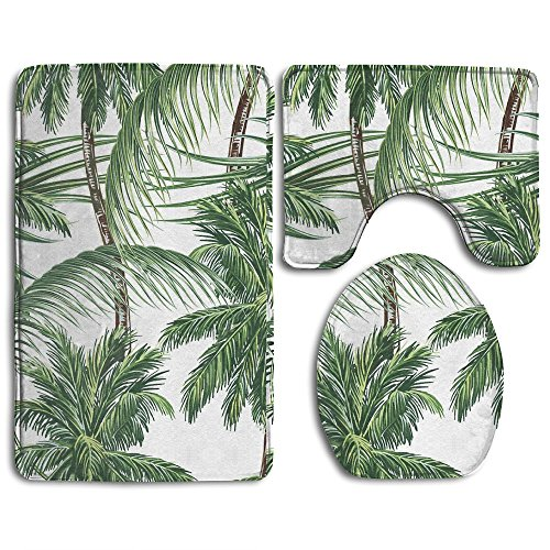 (Palm Tree Leaves Bathroom Rugs Set 3 Piece Non Slip Bath Rug And Mats Sets For Kitchen Shower And Toilet)