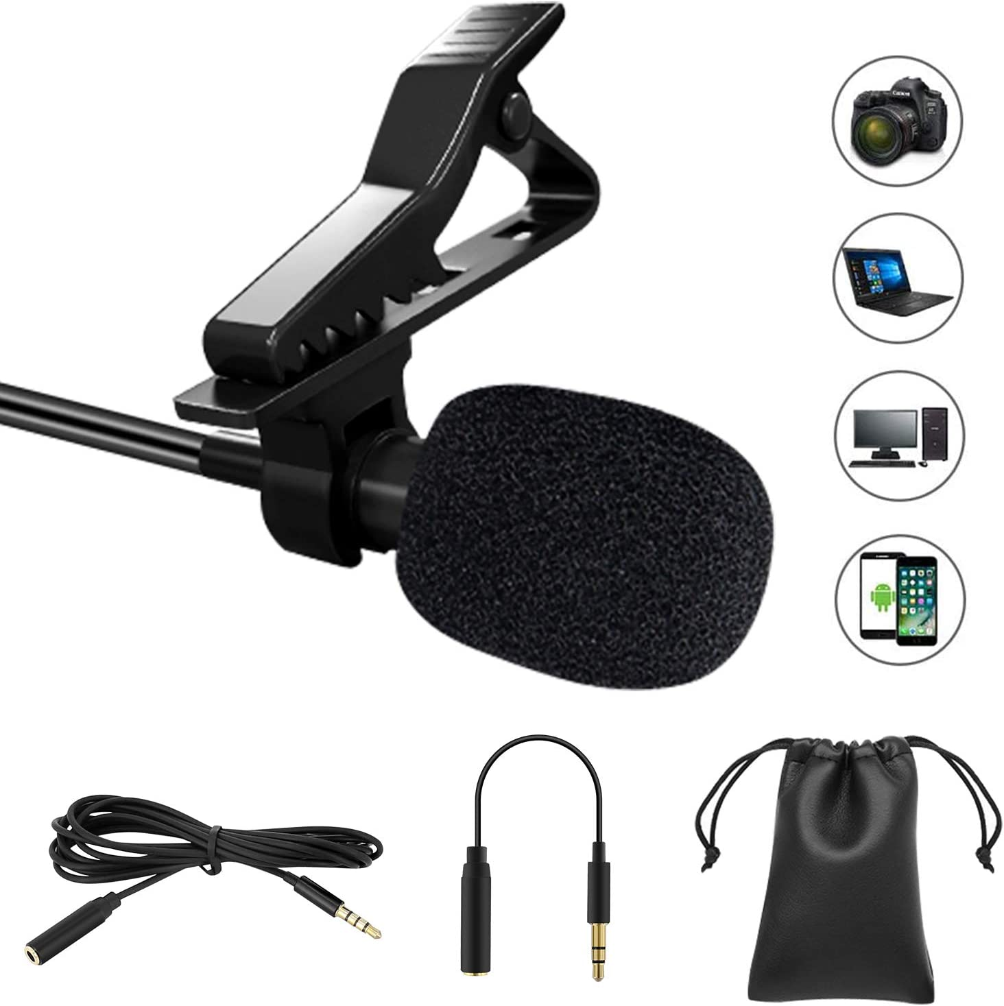 Professional Lavalier Lapel Microphone Omnidirectional Condenser Mic for Phone// Desktop PC Computer Video Conference Voice Dictation Recording Mic for Youtube Interview Podcast
