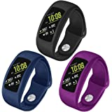 OenFoto Compatible Gear Fit2 Pro/Fit2 Band, Replacement Silicone Accessories Strap Samsung Gear Fit2 Pro SM-R365/Gear Fit2 SM-R360 Smartwatch (3 Pack with case-Black\Blue\Purple)