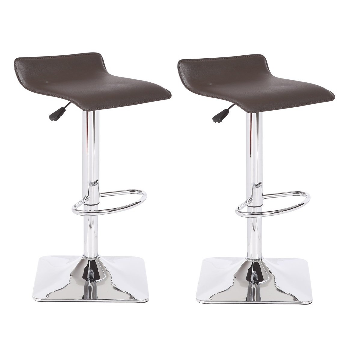 US Pride Furniture Dylan Adjustable Swivel Bar Stool Set of 2, Chocolate
