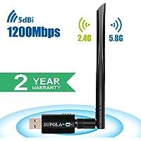 SUPOLA USB WiFi Adaptador 1200Mbps WiFi Antena 5dbi USB 3.0 WiFi Adaptador Largo Alcance Dual Band 2.4GHz/5.8GHz 802.11ac para PC/Laptop,WiFi Dongle Soporte Windows10/8/8.1/7/Vista/XP/Mac10.5-10.13