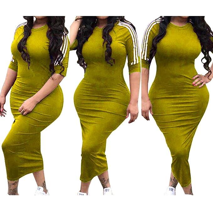 Yying Vestido Mujer Largo Bodycon Vestido de Oficina Vestidos de Verano Cuello O Ajustado Camisa Manga