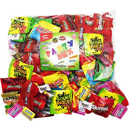 Christmas Candy Party Mix Bulk Bag of 3 Lbs Skittles Swedish Fish Nerds Haribo Gummy Sour Patch Twizzlers Life Savers Starbutst Mike and Ike Custom Varietea Peppermints n' more! Net wt 3.0 LB/48 oz (Mix Gummy)