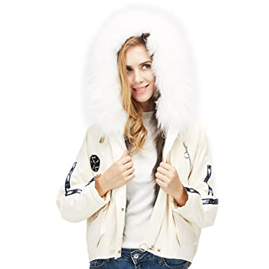 MMFur Lady White Real Raccoon Fur Collar Red Fox Parka Down