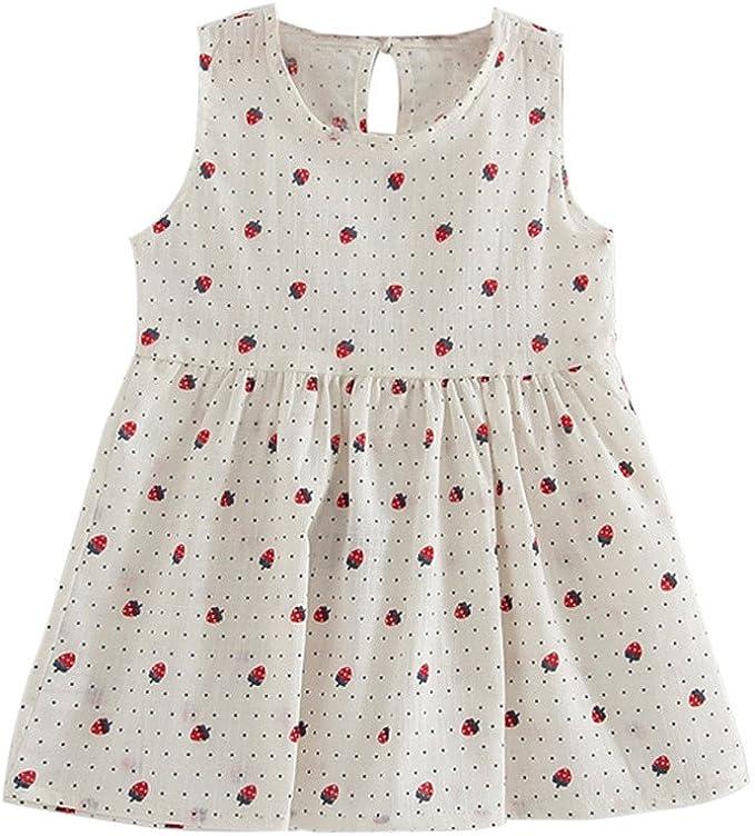 LEXUPE Kleinkind Kinder Baby M/ädchen Leinen R/üschen Prinzessin Casual Beach Dress Outfits Kleidung