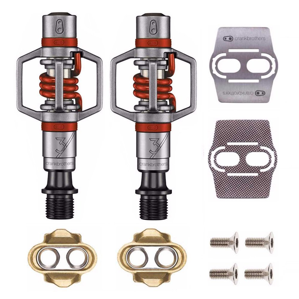 Crankbrothers Eggbeater 3 Pedals (Red) with Premium Cleats and Bike Shoe Shields Set