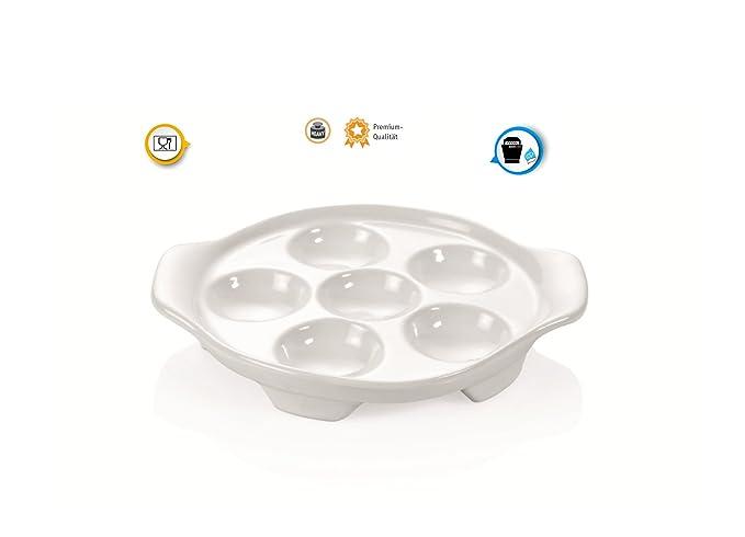 Kerafactum® - Sartén para caracoles (schneckenpfännchen Caracol Plato para 6 caracoles Sartén para cuencos y crustáceos de porcelana Noble - Snail Pan: ...