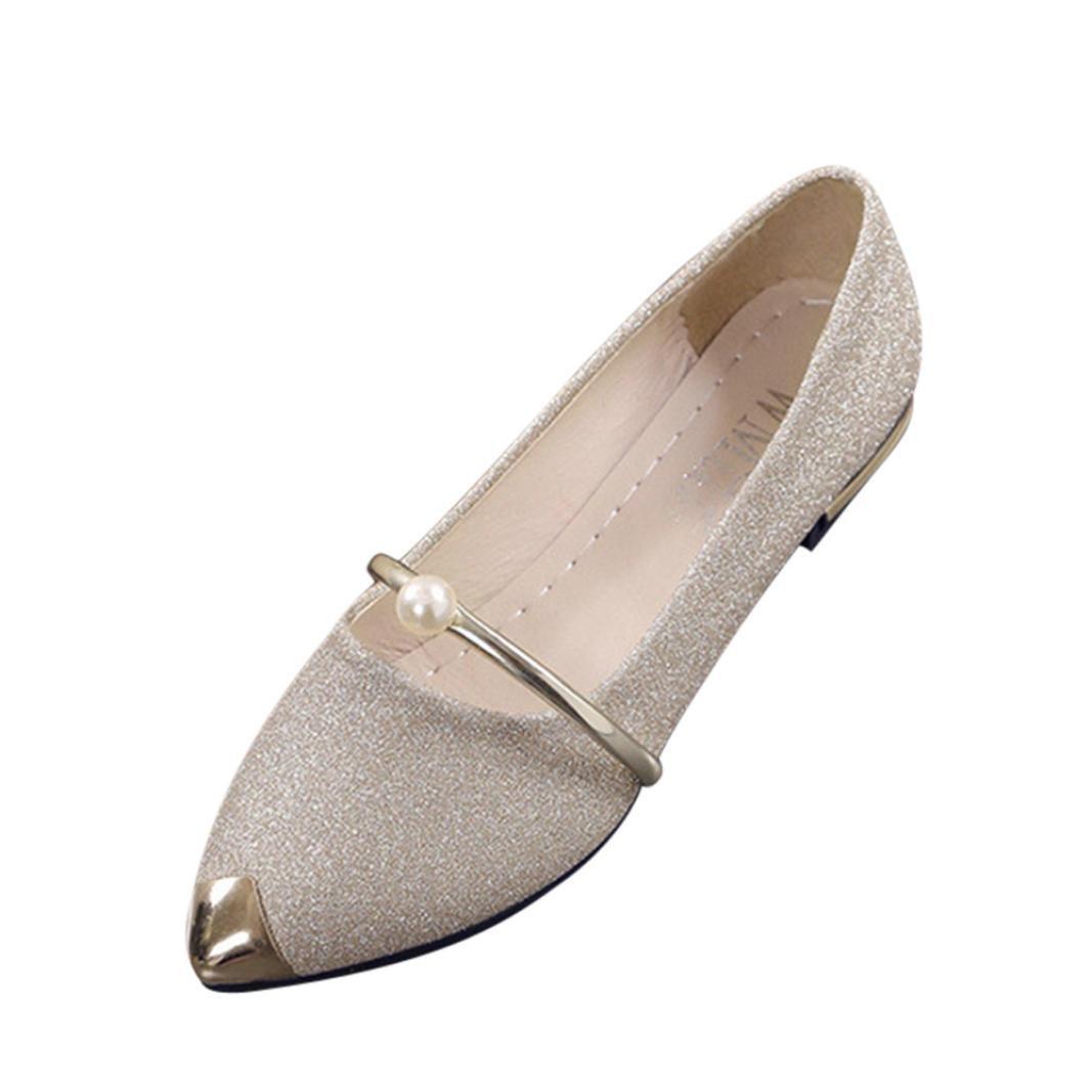 yjydada LadiesレディースPointed Toe Ladise靴カジュアルローヒールフラットシューズ B0782F6D86  ゴールド 37