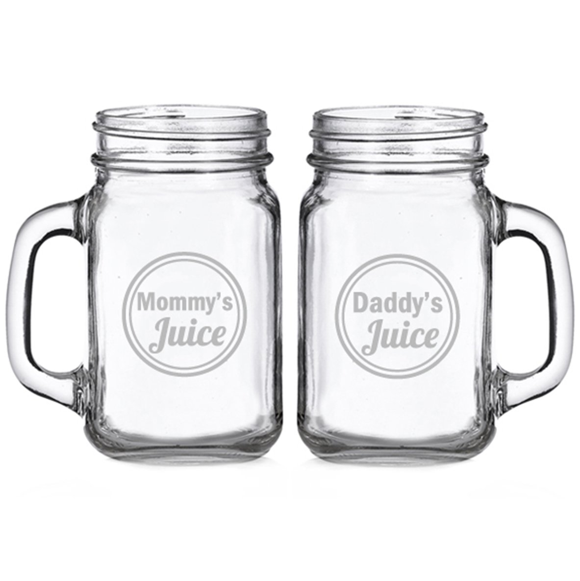 Mommy's Juice and Daddy's Juice Engraved Glass Mason Mugs (set of 2)