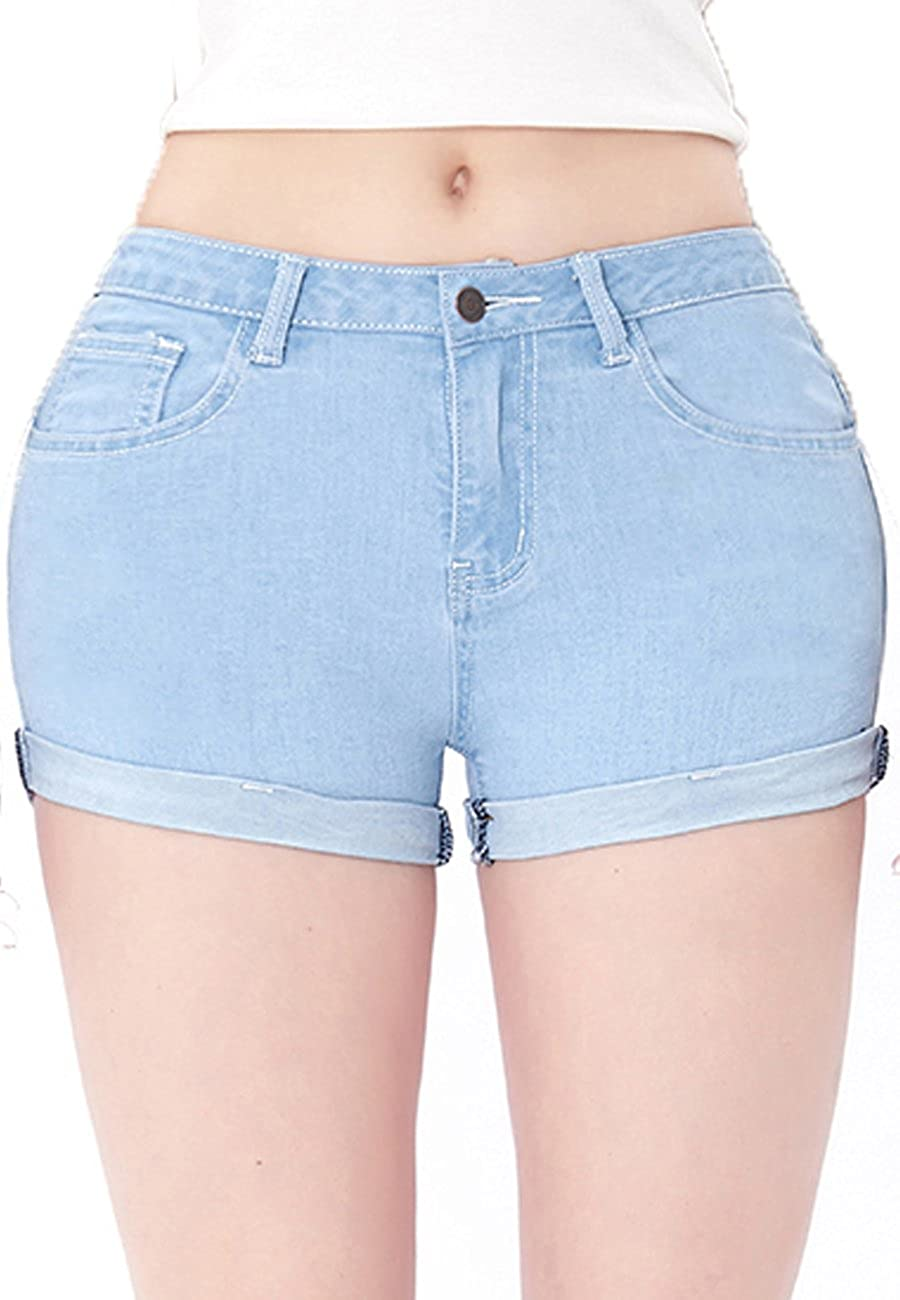 VICVIK Women's Distressed Mid Rise Skinny Cutoff Jean Cute Soft Stretchy Denim Shorts