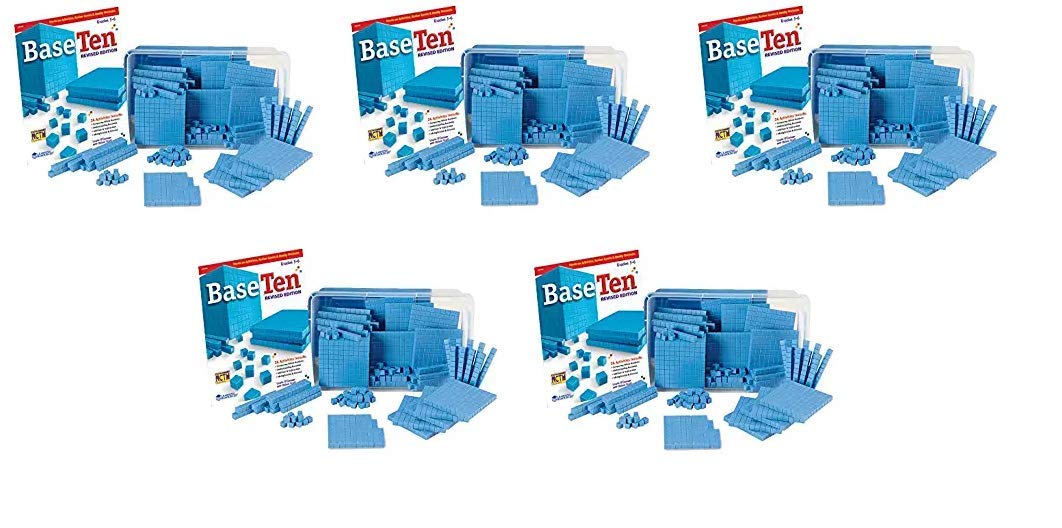 hand2mind Blue Plastic Base Ten Blocks, 161-Piece Starter Set (Fivе Расk)