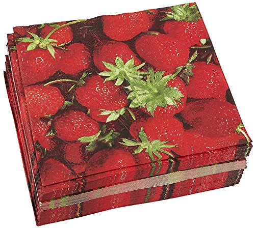 100-Pack Decorative Napkins - Disposable Paper Party Napkins with Strawberry Designs - Perfect for Birthday Parties, Celebrations and Special Occasions, 13 x 13 Inches ()