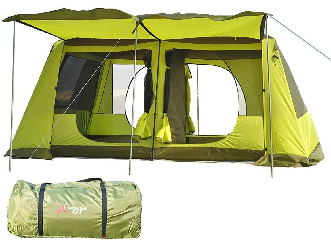 MIRROR SHOP アウトドアテント サンシェードテント ツールームテント リビングルーム ファミリーテント 2ルーム UV50+ 防虫 通気性 耐水圧3000mm 収納袋付き  グリーン B07QRGNCQK