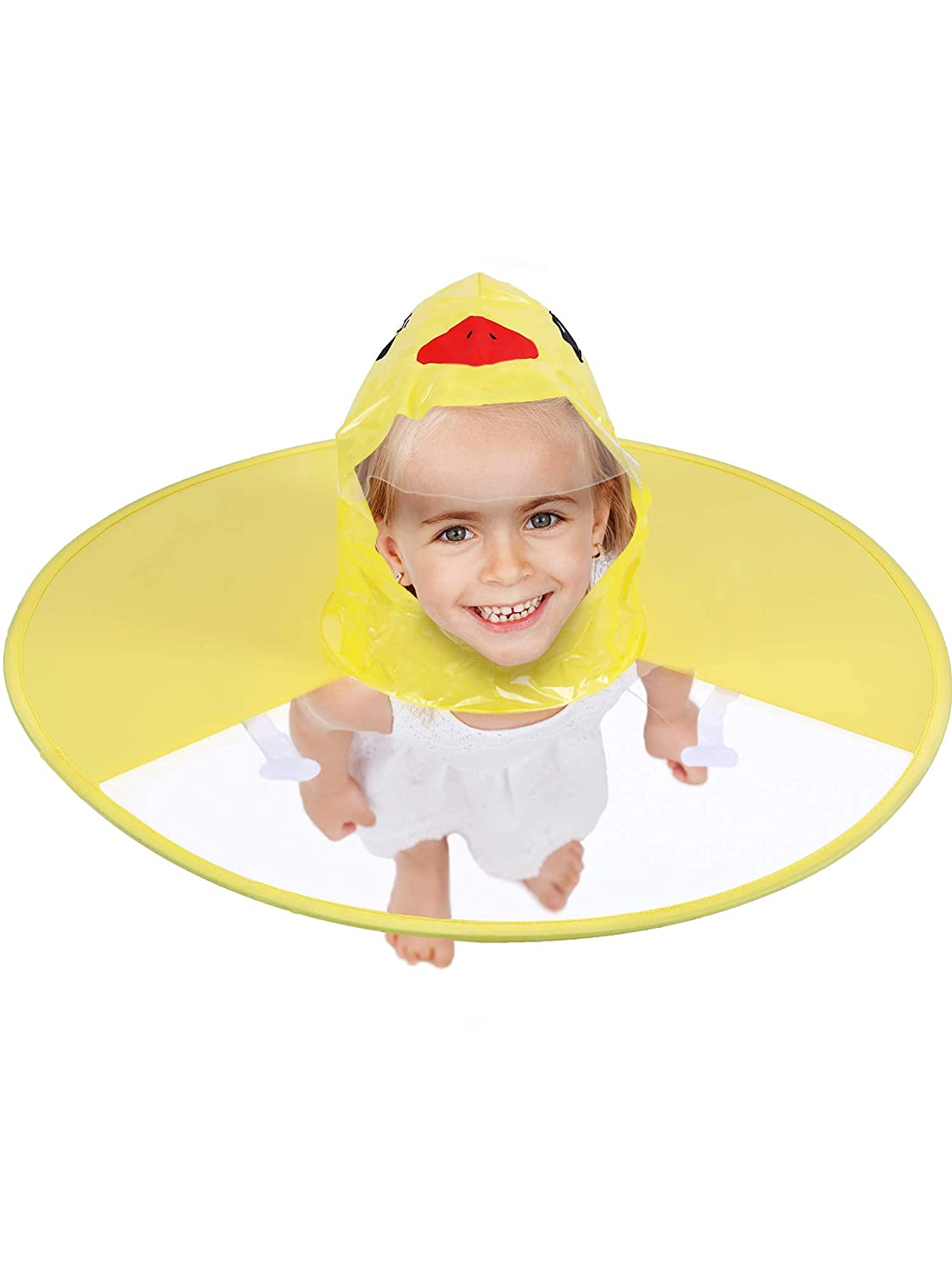 Cartoon Duck Rain Coat UFO Shaped Umbrella Yellow Raincoat Folding Waterproof Hat Cape for Children Raining Fun