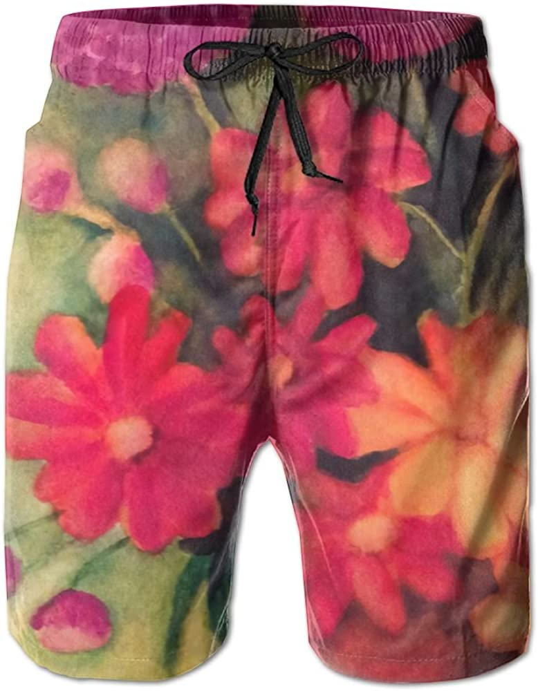 Mens Flowers Party Daisies Tulips and Geraniums Quick Drying Breathable Short Pants Swim Trunks