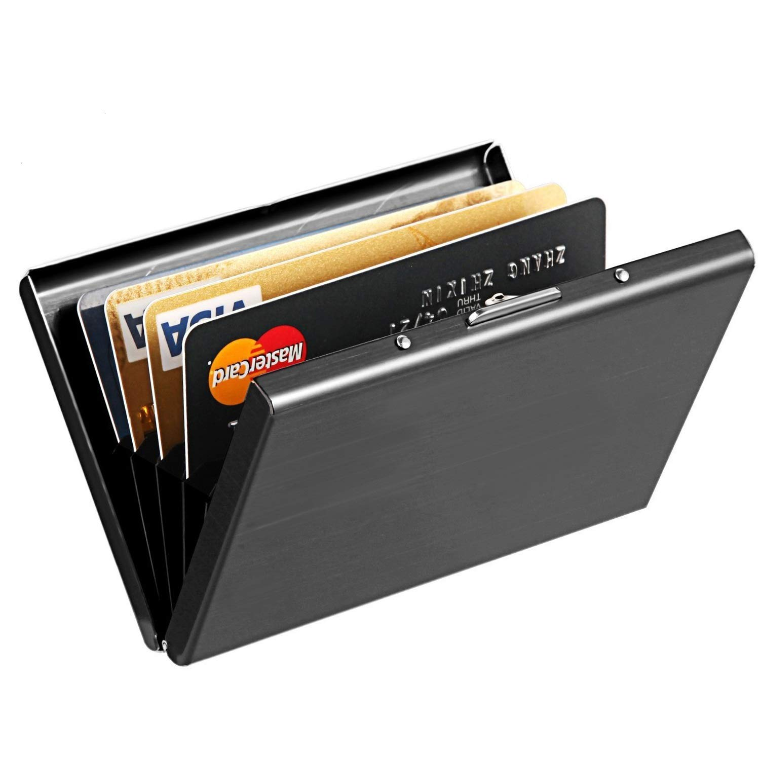 MaxGear RFID Blocking Credit Card Holder Credit Card Case Credit Card Protector Cards holder Waterproof Credit Card Wallet for Men or Women Metal Credit Card Case Silver Luggage-Card-Case-M02-Black