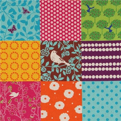 laminated fabric from Japan by Etsuko Furuya with squares (per 0.5 yard unit) ()