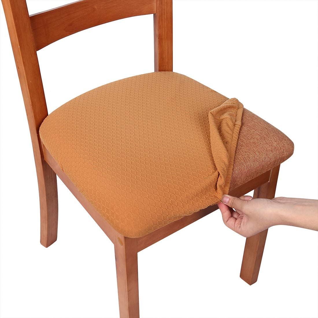 smiry Stretch Spandex Jacquard Dining Room Chair Seat Covers, Removable Washable Anti-Dust Dinning Upholstered Chair Seat Cushion Slipcovers - Set of 4, Camel