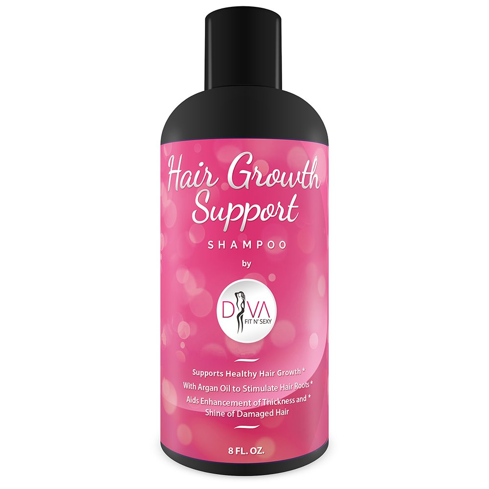 Hair Growth and Restore Shampoo by Diva Fit & Sexy - Natural and Effective Sulfate Free Formula for Women with Organic Argan Oil and Aloe Vera