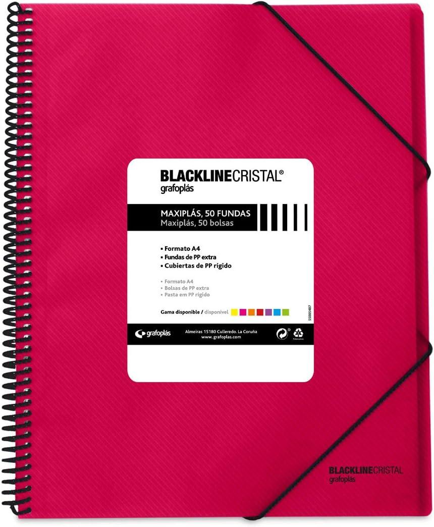 Grafoplás 39835254 Carpeta con Espiral de 50 Fundas, Tapas de Polipropileno Cristal Rayado, Color Rosa Fucsia, A4, Maxiplás Blackline Cristal