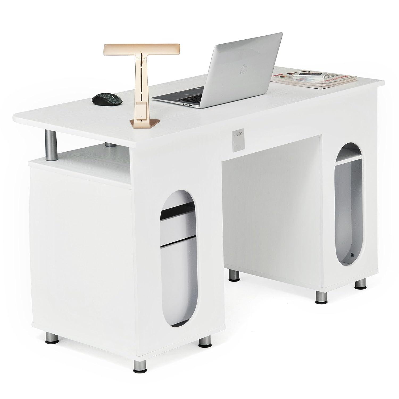 songmics bureau informatique meuble de bureau pour ordinateur 3 tiroirs tablette glissi re. Black Bedroom Furniture Sets. Home Design Ideas