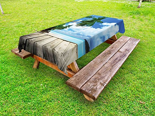 Lunarable Landscape Outdoor Tablecloth, Tropical Island Beach from Deck Pier by The Ocean with Palm Trees Exotic, Decorative Washable Picnic Table Cloth, 58