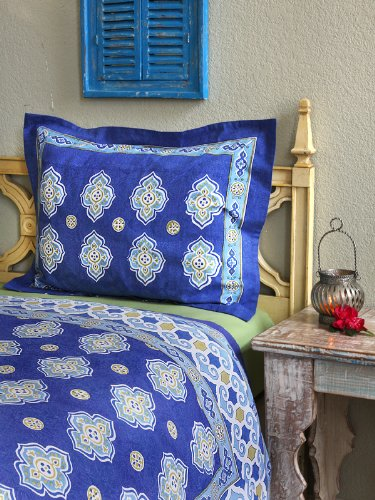 Casablanca Blues ~ Moroccan Theme Style Quatrefoil Pillow Cover 27