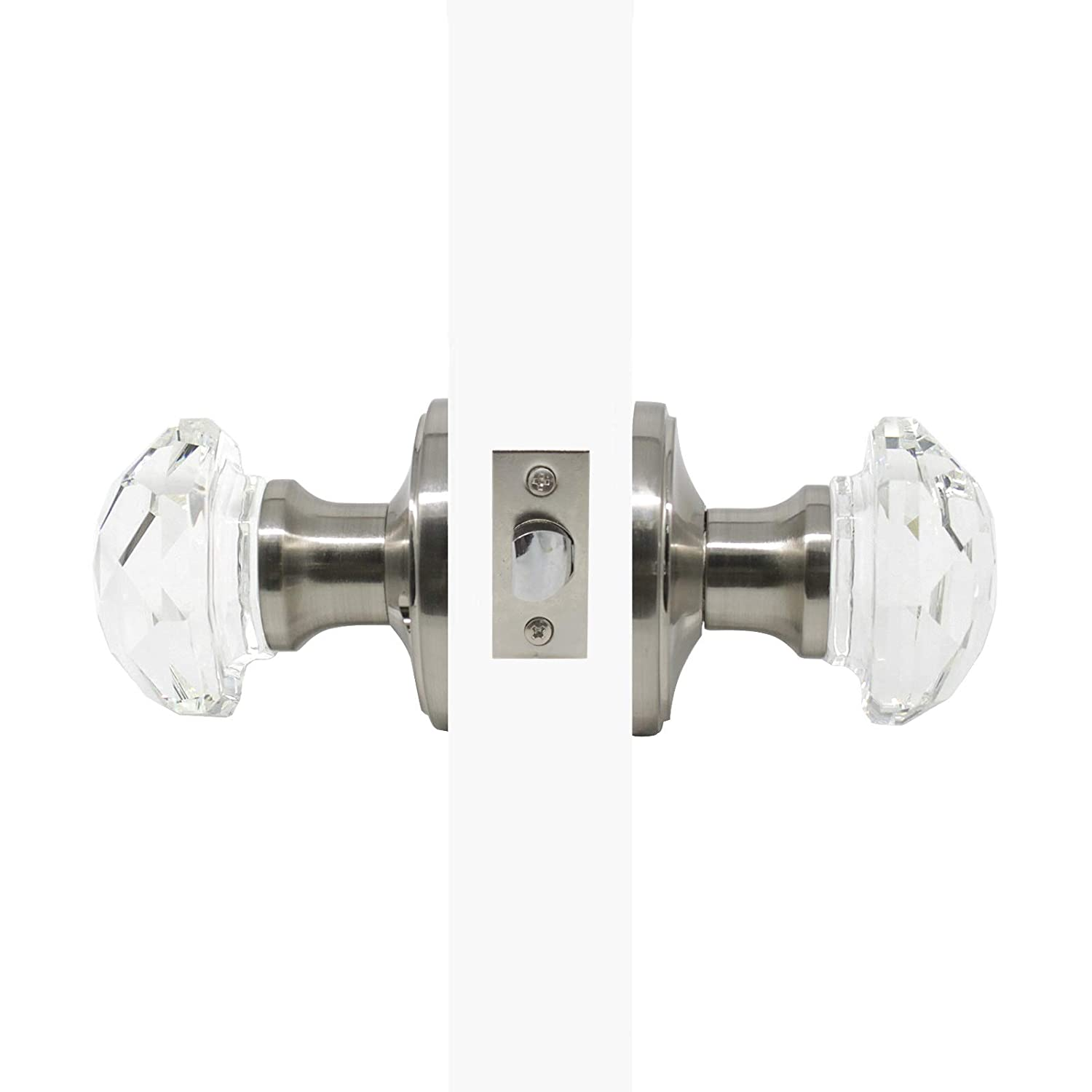 Rosette Crystal Passage Door Knobs,Interior Door Locks for Hall//Closet,Satin Nickel Finished 3Pack
