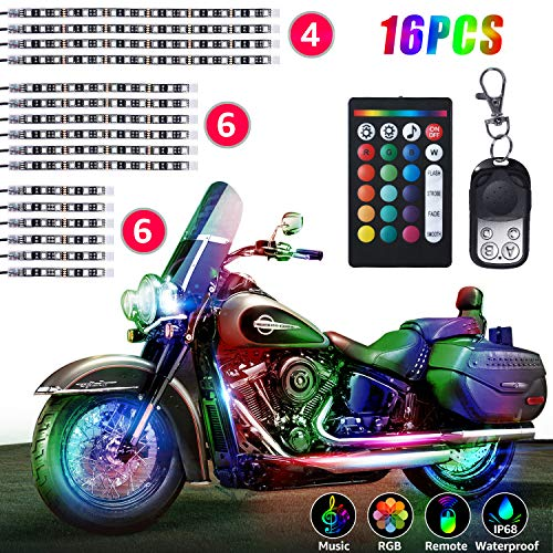 16Pcs Motorcycle LED Lights, HeySuun Strips Kit Multi-Color Accent Glow Neon Lights Lamp Flexible with Remote Controller for Harley Davidson Honda Kawasaki Suzuki Ducati Polaris KTM BMW