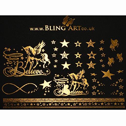 Bling Art Temporary Tattoos Gold Believe Set of 15 Tattoos UK