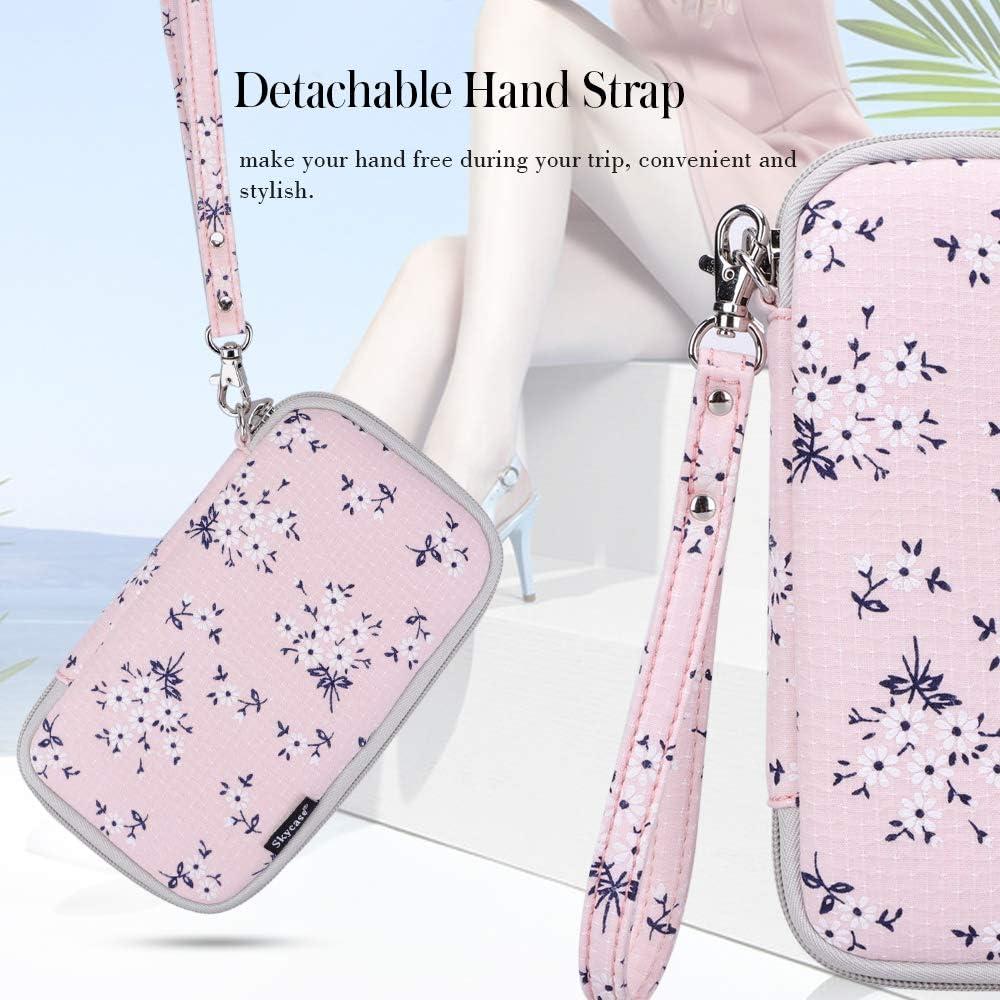 Skycase Passport Holder Travel Wallet with Credit Card Holder Floral Pink