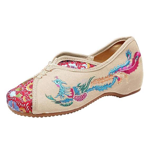 Moda para Mujer Deslizarse en Las cuñas Bordar Ocio Ocio Zapatos de Baile Zapatos Inferiores Gruesos Bordados con una Sola Pierna Zapatos Perezosos Zapatos ...