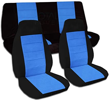 Remarkable Two Tone Car Seat Covers Black Light Blue Semi Custom Fit Full Set Will Make Fit Any Car Truck Van Suv 21 Colors Ibusinesslaw Wood Chair Design Ideas Ibusinesslaworg