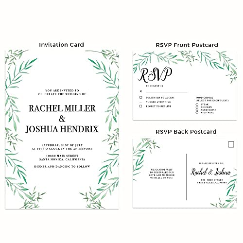 Amazon Com Nature Green Leaves Wedding Invitation Cards With