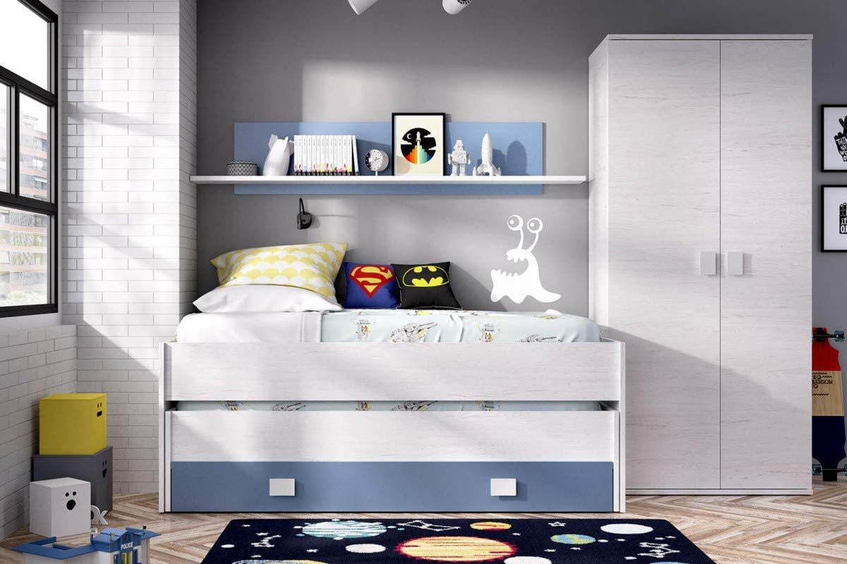 HABITMOBEL Pack Dormitorio Juvenil, Cama Nido 2 cajones + ...