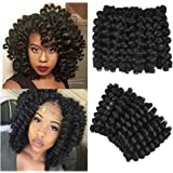 AliRobam 6Packs 8Inch Jumpy Wand Curl Crochet Braids 20 Roots Jamaican Bounce Curly Hair African Black Color Synthetic…