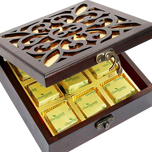 Diwali Mewa Bites- Lazer Wooden Jewellery box with 9 Pcs Mewa Bites Box by Ghasitaram Gifts