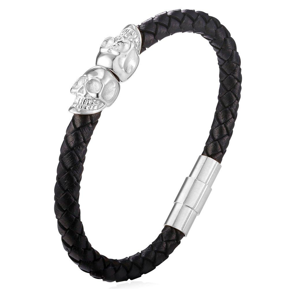 21cm Braided Rope Bracelet Stainless Steel Skull End Genuine Leather Bracelet U7 GH1976-21