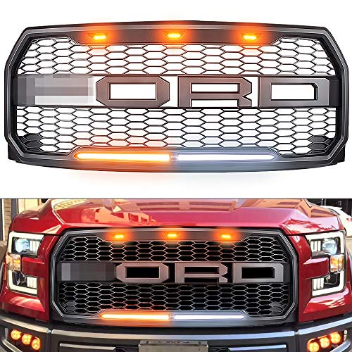 For Ford F150 Raptor Grill innhom Raptor Grille Raptor Style Grill Fits 2015-2017 Ford F-150 with Amber Accent LED Lights and DRL Signal Light